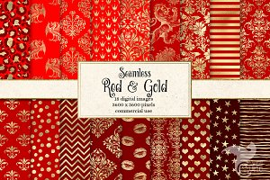 Red and Gold Digital Paper