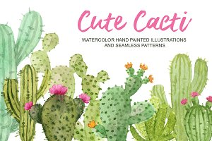 Cute cacti. Watercolor elements set.