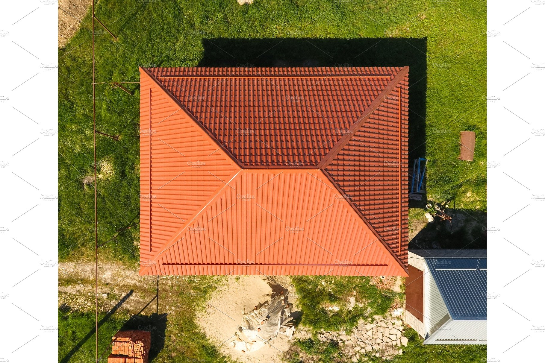 House With An Orange Roof Made Of Metal Top View Metallic Profile Painted Corrugated On The Roof High Quality Architecture Stock Photos Creative Market