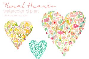 Watercolor Floral Hearts