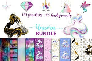 Unicorn BUNDLE graphics + background