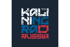 Kaliningrad Russia styled vector t-shirt and apparel design, typ