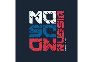 Moscow Russia styled vector t-shirt and apparel design, typograp