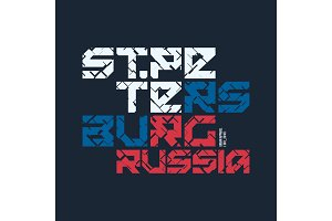 Saint Petersburg Russia styled vector t-shirt and apparel design
