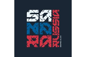 Samara Russia styled vector t-shirt and apparel design, typograp