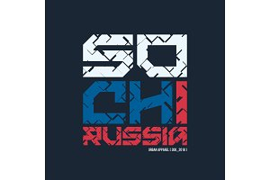 Sochi Russia styled vector t-shirt and apparel design, typograph