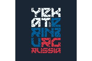 Yekaterinburg Russia styled vector t-shirt and apparel design, t