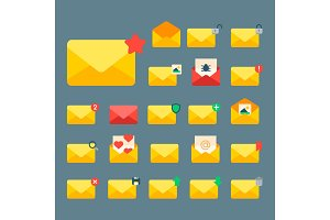 Email envelope cover icons communication correspondence blank cover address design paper empty card writing message vector illustration.