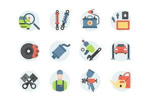 Car service parts flat vector illustration auto mechanic repair of machines and automobile equipment