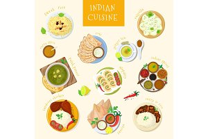 Indian food vector India cuisine and asian dishes masala with spicy rice and tandoori chicken illustration set of asia meal naan in bowl isolated on white background