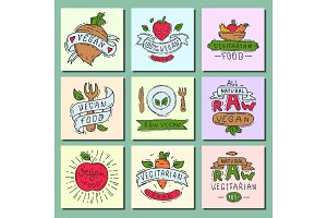 Hand drawn style of bio organic eco healthy food label vegan vegetable vector illustration vegetarian natural farm sign.