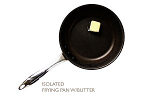 Isolated Frying Pan with Butter