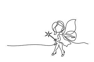 Beautiful mage woman holding Magic wand