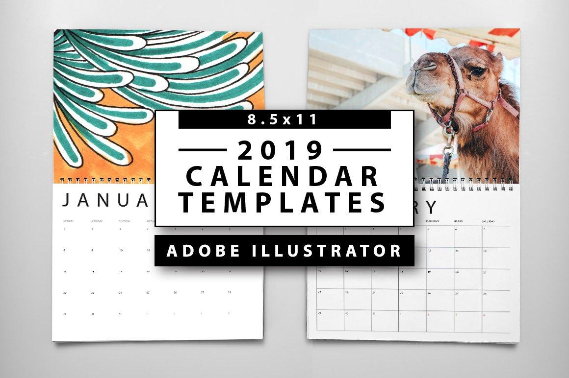 2019 calendar templates templates creative market. Black Bedroom Furniture Sets. Home Design Ideas