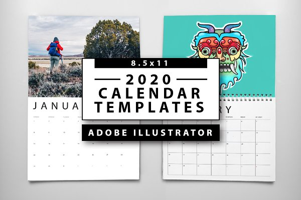 Calendario 2020 Editable Illustrator.Calendar Template Photos Graphics Fonts Themes Templates