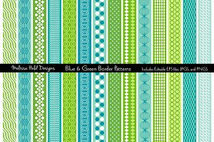 Blue & Green Mod Border Patterns