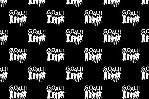 Fans Celebrating Goal Graphic Silhouette Pattern
