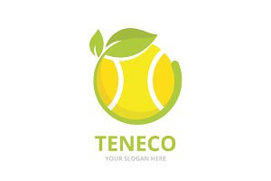 Vector tennis and leaf logo