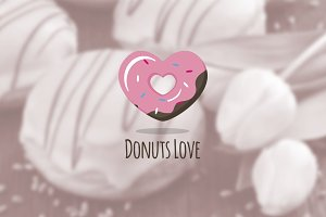 Donuts Love. Donuts Shop Logo