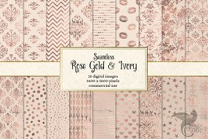 Rose Gold and Ivory Digital Paper