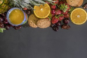 close up bunch of sweet low diet fresh food for breakfast concept with copy space on dark surface mockup
