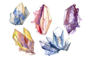 Cool crystals PNG watercolor set