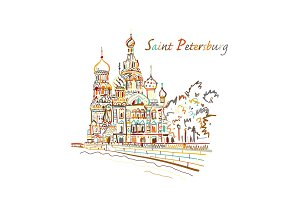 Saint Petersburg. Church of the Saviour on Spilled Blood. Russia. Sketch for your design