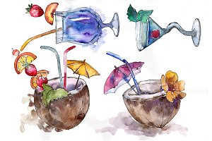 Tropical cocktails PNG watercolor