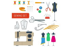 Sewing equipment set icons