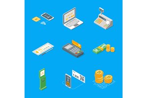 Payment Methods Set Isometric View