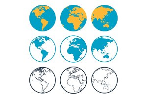 Nine globus icons
