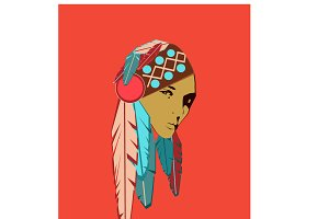 Indian girl with feathers poster