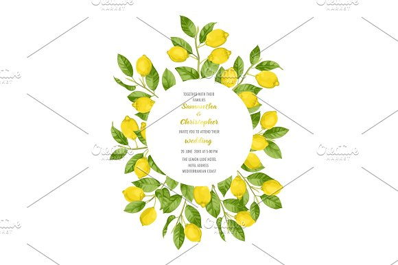 Wedding Invitation Card with Lemon Brunches