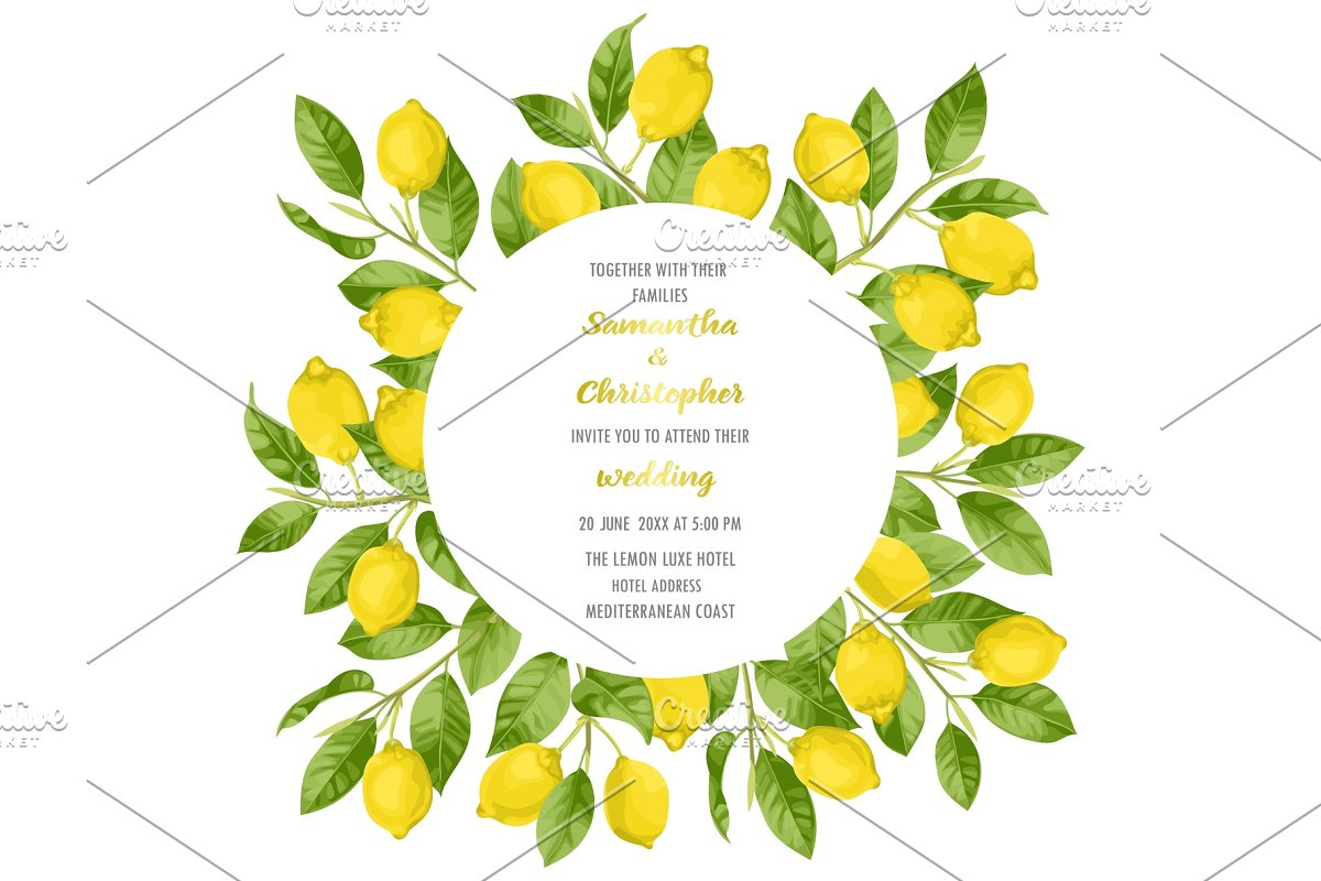 Wedding Invitation Card with Lemon Brunches in Illustrations
