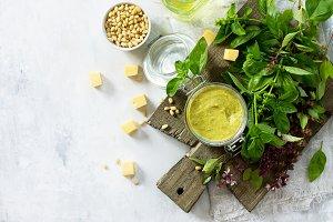 Pesto. Italian basil sauce.