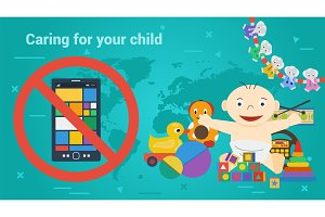 Long Banner - children toys and smart phone