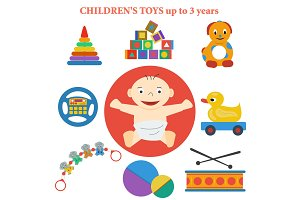 set of vector icons of childrens toys