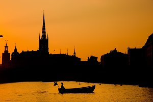 Stockholm at sunset - romantic view