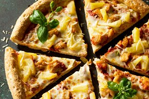 Italian pizza  Hawaiian.