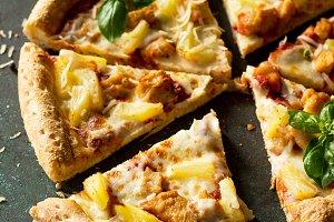 Italian pizza  Hawaiian.