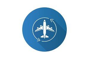 Flight transit flat design long shadow glyph icon
