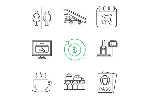Airport service linear icons set