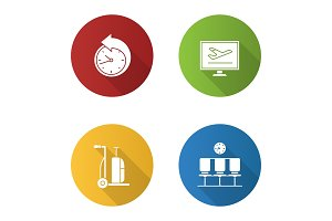 Airport service flat design long shadow glyph icons set