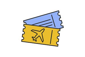 Airplane tickets color icon