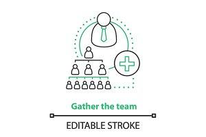 Team gathering process concept icon