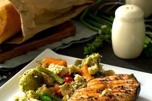 Grilled salmon steak.