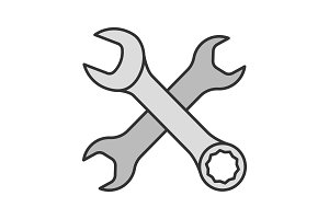 Crossed wrenches color icon