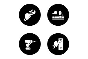 Hands holding construction tools glyph icons set