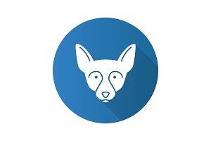 Chihuahua flat design long shadow glyph icon