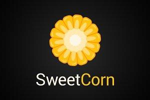 Sweet corn logo on black background